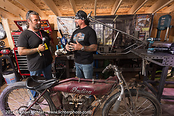 Billy Lane and Chris Callen on the Broken Spoke Grease and Gears stage at the Iron Horse Saloon during the annual Sturgis Black Hills Motorcycle Rally. Sturgis, SD. USA. Friday August 11, 2017.  Photography ©2017 Michael Lichter.