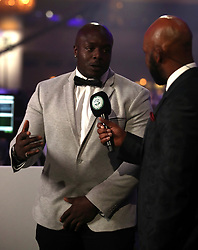 League Two team of the year representative Adebayo Akinfenwa speaks during the 2018 PFA Awards at the Grosvenor House Hotel, London.