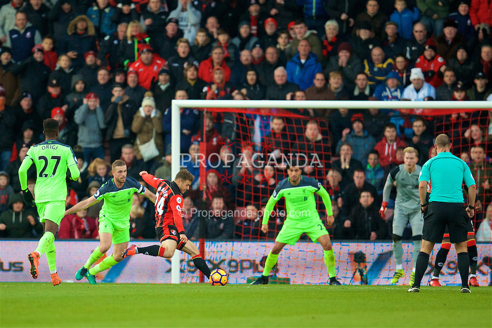 BOURNEMOUTH, ENGLAND - Sunday, December 4, 2016: AFC Bournemouth's Ryan Fraser scores the second goal against Liverpool during the FA Premier League match at Dean Court. (Pic by David Rawcliffe/Propaganda)