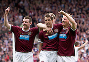 The William Hill Scottish FA Cup Final 2012 Hibernian Football Club v Heart Of Midlothian Football Club..19-05-12...Rudi Skacel celebrates scoring number 5 to make it 5-1 to Hearts with Andy Driver, Stephen Elliott and  Darren Barr        during the William Hill Scottish FA Cup Final 2012 between (SPL) Scottish Premier League clubs Hibernian FC and Heart Of Midlothian FC. It's the first all Edinburgh Final since 1986 which Hearts won 3-1. Hearts bid to win the trophy since their last victory in 2006, and Hibs aim to win the Scottish Cup for the first time since 1902....At The Scottish National Stadium, Hampden Park, Glasgow...Picture Mark Davison/ ProLens PhotoAgency/ PLPA.Saturday 19th May 2012.