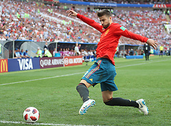 MOSCOW, July 1, 2018  Gerard Pique of Spain controls the ball during the 2018 FIFA World Cup round of 16 match between Spain and Russia in Moscow, Russia, July 1, 2018. (Credit Image: © Xu Zijian/Xinhua via ZUMA Wire)