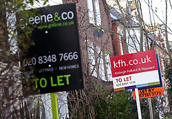 Embargoed to 0001 Friday July 7 File photo dated 23/01/15 of letting signs. The choice of available properties for renters is up year-on-year, despite landlords having faced a potential squeeze on their profits, a report has found.