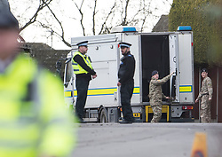 © Licensed to London News Pictures. 15/03/2018. Alderholt, UK. Military personnel are seen at an address in Alderholt, Dorset, believed to be the home of Wiltshire Police Detective Sergeant Nick Bailey, in connection with the poisoning of Former Russian spy Sergei Skripal and his daughter Yulia were. The couple where found unconscious on bench in Salisbury shopping centre. Photo credit: Ben Cawthra/LNP