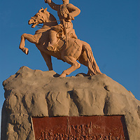 A sculpture of Damdiny Sukhbataar, the hero of Mongolia's independence from China, towers above a huge square that bears his last name.  This plaza is a central meeting place and sprawls in front of the Parliament building in central Ulaan Baatar.