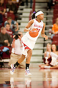 Jan 8, 2012; Fayetteville, AR, USA; Arkansas Razorbacks forward Dominique Robinson (21) dribbles the ball during a game against the Tennessee Lady Volunteers at Bud Walton Arena. Tennessee defeated Arkansas 69-38. Mandatory Credit: Beth Hall-US PRESSWIRE