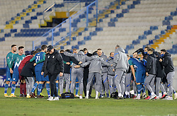 Players of Slovenia and Matjaz Kek, head coach of Slovenia celebrate after the football match between National teams of Greece and Slovenia in Final tournament of Group Stage of UEFA Nations League 2020, on November 18, 2020 in Georgios Kamaras Stadium, Athens, Greece. Photo by BIRNTACHAS DIMITRIS / INTIME SPORTS / SPORTIDA