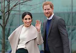 Prince Harry and Meghan Markle during a visit to Catalyst Inc science park in Belfast where they met some of Northern Ireland's brightest young entrepreneurs.