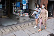 Face masks under coronavirus lockdown on Fleet Street on 1st July 2020 in London, England, United Kingdom. As the July deadline approaces and government will relax its lockdown rules further, the central London remains very quiet, while some non-essential shops are allowed to open with individual shops setting up social distancing systems.