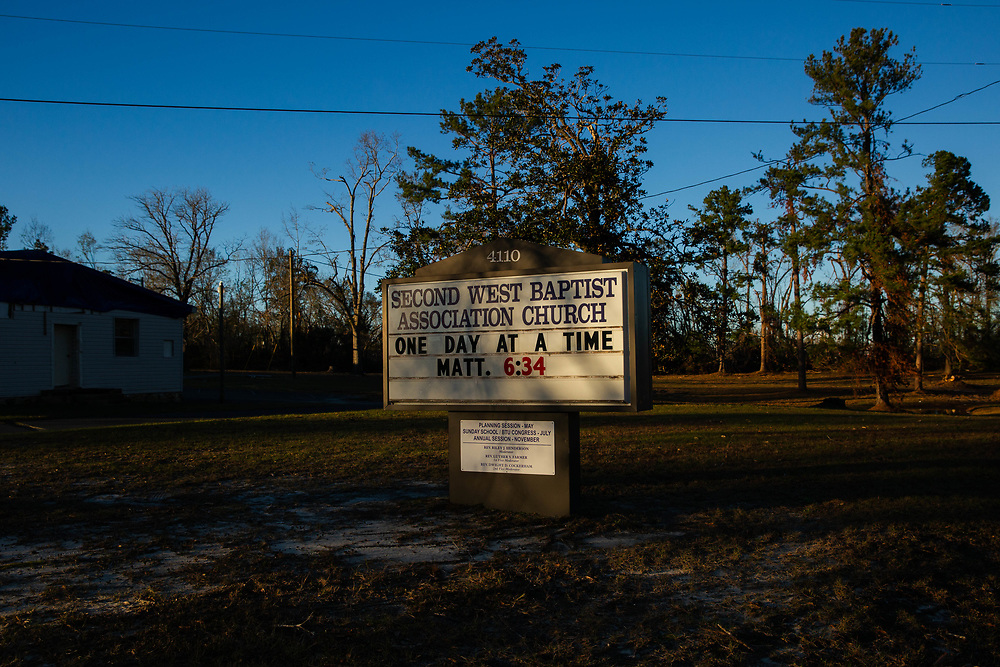 The sign at the Second West Baptist Association Church in Marianna, Fla., on Saturday, Jan. 5, 2019. Photo by Kevin D. Liles for The New York Times