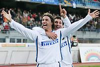 """Hernan Crespo (inter) festeggiato dopo il gol dell'1-0 da Nicolas Andres Burdisso (inter)<br /> Hernan Crespo (Inter) celebrates with Nicolas Andres Burdisso (Inter) after scoring first goal<br /> Italian """"Serie A"""" 2006-07<br /> 10 Dic 2006 (Match Day 15)<br /> Empoli-Inter (0-3)<br /> """"Castellani"""" Stadium-Empoli-Italy<br /> Photographer Luca Pagliaricci INSIDE"""