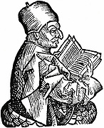 Venerable Bede (c.673-735) Anglo-Saxon theologian, scholar and historian; monk at Jarrow, Northumberland, holding open a book. Woodcut from Hartmann Schedel 'Liber chronicarum mundi' (Nuremberg Chronicle) Nuremberg, 1493