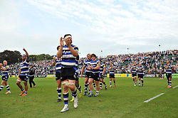 Bath players touch the pitch after the match - Photo mandatory by-line: Patrick Khachfe/JMP - Mobile: 07966 386802 20/09/2014 - SPORT - RUGBY UNION - Bath - The Recreation Ground - Bath Rugby v Leicester Tigers - Aviva Premiership