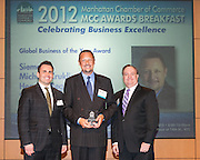 Manhattan Chamber of Commerce's 2012 Awards Breakfast celebrated business excellence by recognizing outstanding leaders. Global Business of the Year Award. Felix Malitsky, MetLife (l); Michael Kruklinski, Siemens; and Joseph F. Kirk, Wells Fargo (r)The awards were presented by Well Fargo and hosted at Con Edison's Conference Center on January 31, 2013.
