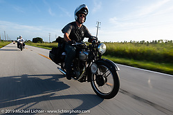 Mark Zenor riding his 1946 Norton Model 18 in the Cross Country Chase motorcycle endurance run from Sault Sainte Marie, MI to Key West, FL. (for vintage bikes from 1930-1948). Stage-9 covered 259 miles from Lakeland, FL to Miami, FL USA. Saturday, September 14, 2019. Photography ©2019 Michael Lichter.