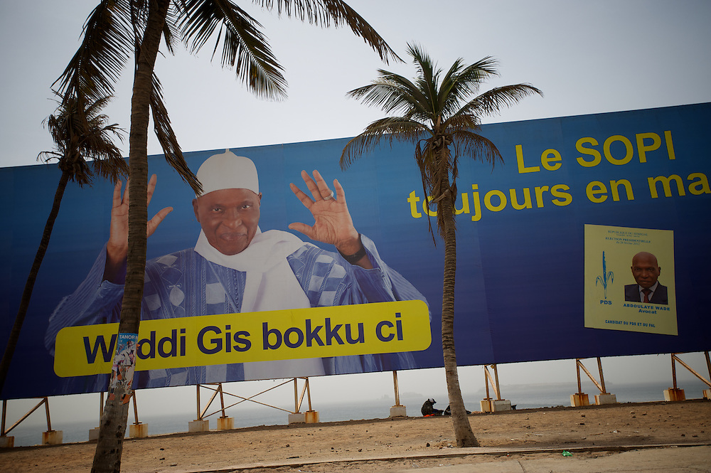 February 23, 2012 - Dakar, Senegal: A campaign poster of the president Abdoulaye Wade is displayed in a outdoor at the corniche in central Dakar, ahead of the presidential elections on the 26th of February. (Paulo Nunes dos Santos/Polaris)