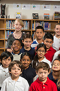 Students pose for a photograph at Durham Elementary School, January 31, 2014.