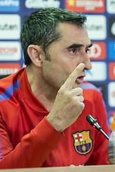 May 5, 2018 - Barcelona, Catalonia, Spain - Ernesto Valverde during the press conference before La Liga match between FC Barcelona and Real Madrid on May 5, 2018 at Ciutat Joan Gamper in Barcelona, Spain  (Credit Image: © Xavier Bonilla/NurPhoto via ZUMA Press)
