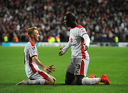 Milton Keynes Dons' Benik Afobe celebrates his second goal of the game - Photo mandatory by-line: Joe Meredith/JMP - Mobile: 07966 386802 26/08/2014 - SPORT - FOOTBALL - Milton Keynes - Stadium MK - Milton Keynes Dons v Manchester United - Capital One Cup