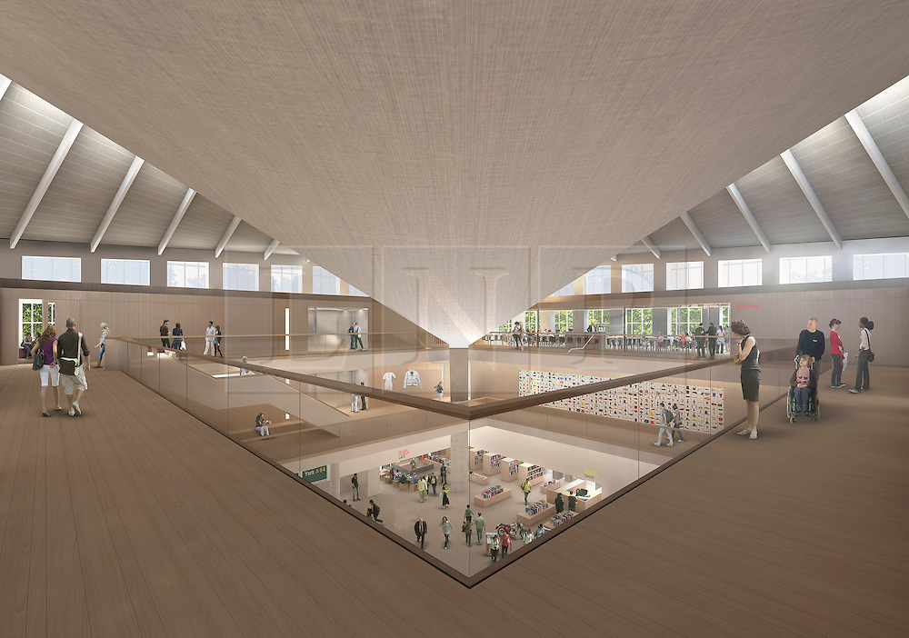 © Licensed to London News Pictures. 24/01/2012, London, UK. Architect rendered image of the new design. The Design Museum in London today unveiled plans to create a new Museum of Design and Architecture. The museum will be housed in The former 1960's abandoned building of The Commonwealth Institute in High Street Kensington, London. The 80million GBP refit by architect John Pawson will open to the public in 2014.  Photo credit : Alex Morris Visualisation/LNP