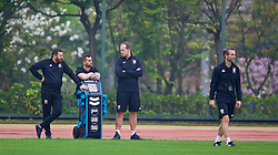 NANNING, CHINA - Sunday, March 25, 2018: Wales' equipment manager David Griffiths, masseur Chris Senior, James Haycock and assistant coach Albert Stuivenberg during a training session at the Guangxi Sports Centre ahead of the 2018 Gree China Cup International Football Championship final match against Uruguay. (Pic by David Rawcliffe/Propaganda)