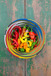 Mixed chilli peppers in a colourful basket