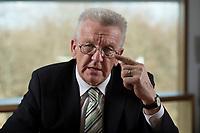 23 MAR 2012, BERLIN/GERMANY:<br /> Winfried Kretschmann, B90/Gruene, Ministerpraesident  Baden-Wuerttemberg, waehrend einem Interview,Landesvertertung Baden-Wuerttemberg<br /> IMAGE: 20120323-03-015