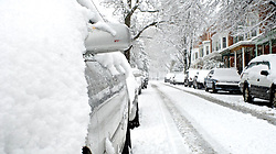 More cars than usual during a working day are seen parked at this street in Mt Airy. (Bas Slabbers/for NewsWorks)