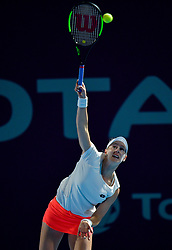 DOHA, Feb. 14, 2019  Alison Riske of the United States serves during the women's singles second round match between Alison Riske of the United States and Julia Goerges of Germany at the 2019 WTA Qatar Open in Doha, Qatar, Feb. 13, 2019. Alison Riske lost 1-2. (Credit Image: © Nikku/Xinhua via ZUMA Wire)