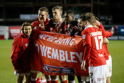 Bristol City players celebrate after the match ends 1-1 (5-3 on aggregate) allowing Bristol City to progress to the Final at Wembley - Photo mandatory by-line: Rogan Thomson/JMP - 07966 386802 - 29/01/2015 - SPORT - FOOTBALL - Bristol, England - Ashton Gate Stadium - Bristol City v Gillingham - Johnstone's Paint Trophy Southern Area Final Second Leg.