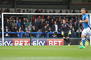 Rochdale supporters behind the Sky Bet logo during the EFL Sky Bet League 1 match between Rochdale and Gillingham at Spotland, Rochdale, England on 23 September 2017. Photo by Daniel Youngs.