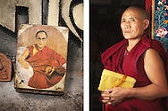 An alter with a picture of the Dalai Lama and a Buddhist monk in the Tibetan government in exile, Dharamsala.