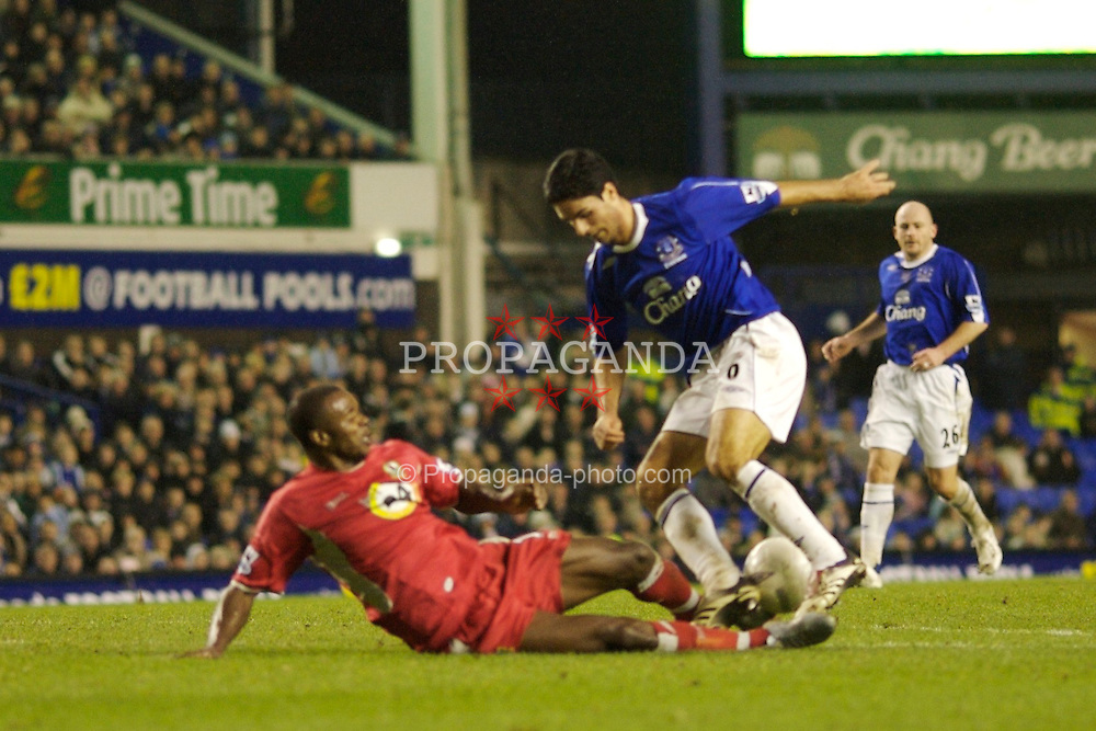 Liverpool, England - Sunday, January 7, 2007: Everton's Mikel Arteta is brought down by Blackburn Rovers' Aaron Mokoena and penalty is given during the FA Cup 3rd Round match at Goodison Park. (Pic by David Rawcliffe/Propaganda)