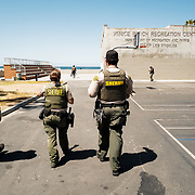 The LASD Deputies walk the boardwalk along the famous Venice Beach to do an outreach to all of the homeless crisis.