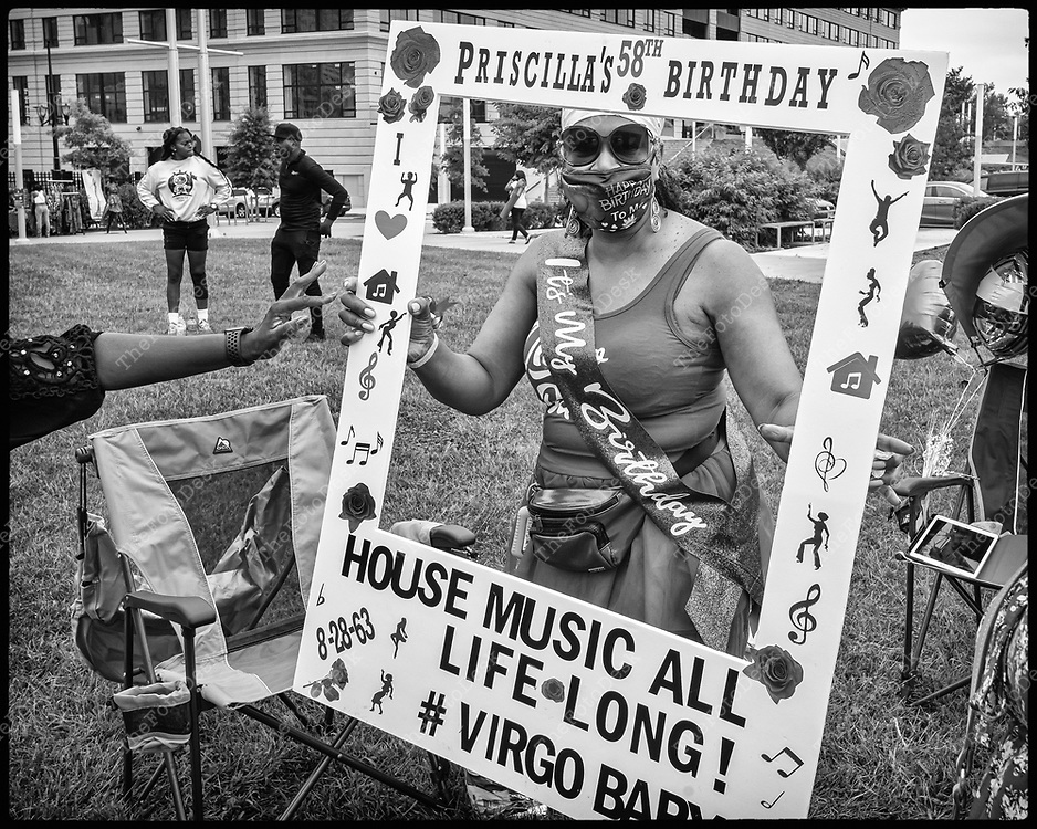 NEWARK, NEW JERSEY: Priscilla celebrates her 58th birthday  during Bang The Drum House Music a day in the park at Mulberry Commons in in Newark, NJ on Sunday, August 29, 2021. (Brian B Price/TheFotodesk).