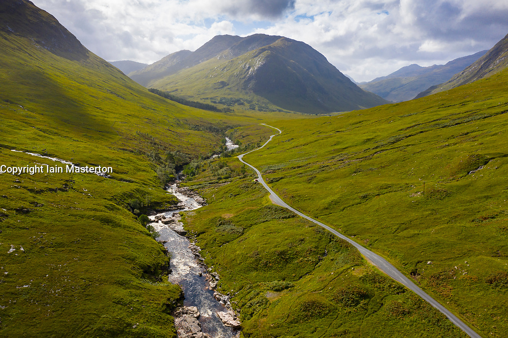 Aerial view of  Glen Etive, Highland Region, Scotland, Uk