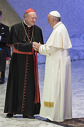October 5, 2016 - Vatican City, Vatican - Pope Francis greets president of Vatican's Pontifical Council for Culture, Gianfranco Ravasi during the opening ceremony of the International conference ''Sport at the Service of Humanity'', the first global conference on faith and sport promoted by the Vatican Pontifical Council for Culture, in the Paul VI hall in Vatican City, Vatican on October 05, 2016. (Credit Image: © Giuseppe Ciccia/Pacific Press via ZUMA Wire)