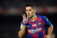 Luis Suarez of FC Barcelona celebrates scoring a goal during the sixteen round match of the La Liga 2019-2020 season between FC BARCELONA and RCD MALLORCA at CAMP NOU STADIUM in Barcelona, Spain.December 7, 2019