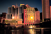 Image of the Boston skyline of downtown buildings and Fort Point Channel at dawn, Boston, Massachusetts, New England by Andrea Wells