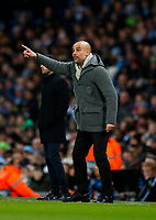 Football - 2018 / 2019 UEFA Champions League - Round of Sixteen, Second Leg: Manchester City (3) FC Schalke 04 (2)<br /> <br /> Manchester City Manager Josep Guardiola at The Etihad.<br /> <br /> COLORSPORT/LYNNE CAMERON