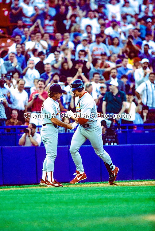 Mark McGwire, St. Louis Cardinals  during the home run record breaking season in 1998 in a game agaainst the New York Mets.