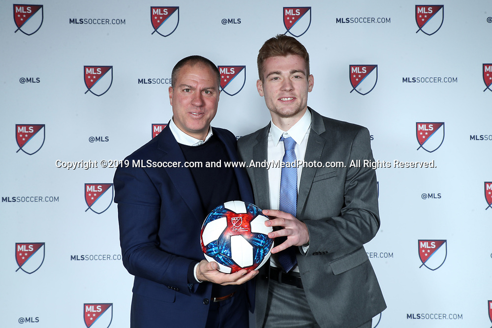 CHICAGO, IL - JANUARY 11: Lennart Hein was taken with the 47th overall pick by the Portland Timbers. With head coach Giovanni Savarese (left). The MLS SuperDraft 2019 presented by adidas was held on January 11, 2019 at McCormick Place in Chicago, IL.