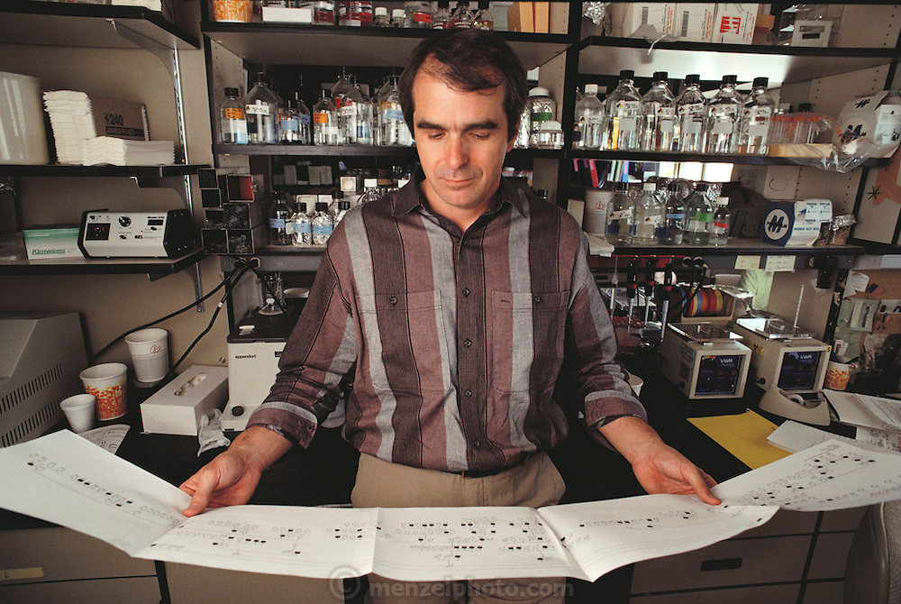 """(1992) Ray White in his lab at the Howard Hughes Medical Institute, with the genetic map of his family used in his """"linkage strategy"""". DNA Fingerprinting. MODEL RELEASED"""