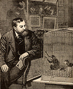 Francis Trevelyan (Frank) Buckland (1826-1880) English surgeon and zoologist. Son of William Buckland, the English geologist and Dean of Westminster.  Buckland at home in his study with caged monkeys.  Engraving from 'Home Words' (London, 1881).