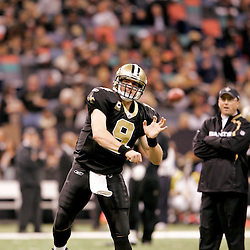 2009 December 19:  New Orleans Saints quarterback Drew Brees (9) during warm ups prior to kickoff of a game between the Dallas Cowboys and the New Orleans Saints at the Louisiana Superdome in New Orleans, Louisiana.