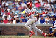 CHICAGO - 1993:  Barry Larkin of the Cincinnati Reds bats during an MLB game versus the Chicago Cubs at Wrigley Field in Chicago, Illinois during the 1993 season. (Photo by Ron Vesely) Subject:   Barry Larkin