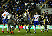 Reading's Alex Pearce scores the opening goal.<br /> <br /> Photo by James Marsh/CameraSport<br /> <br /> Football - The Football League Sky Bet Championship - Reading v Leicester City - Monday 14th April 2014 - Madejski Stadium - Reading<br /> <br /> © CameraSport - 43 Linden Ave. Countesthorpe. Leicester. England. LE8 5PG - Tel: +44 (0) 116 277 4147 - admin@camerasport.com - www.camerasport.com