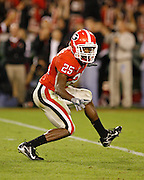 Georgia ROV Tra Battle celebrates a sack during the game between the Georgia Bulldogs and the Tennessee Volunteers at Sanford Stadium in Athens, GA on October 7, 2006.<br />