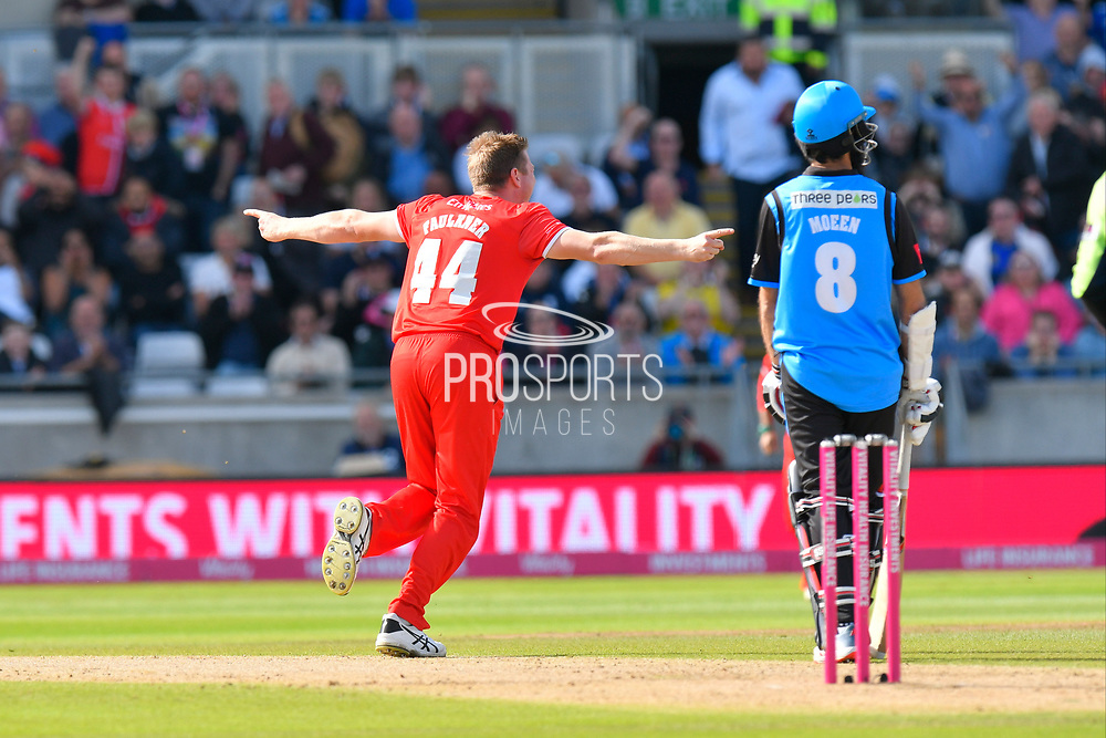 Wicket - James Faulkner of Lancashire celebrates taking the wicket of Joe Clarke of Worcestershire during the Vitality T20 Finals Day Semi Final 2018 match between Worcestershire Rapids and Lancashire Lightning at Edgbaston, Birmingham, United Kingdom on 15 September 2018.