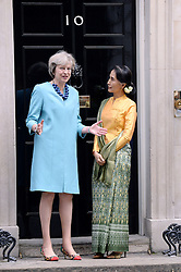 Starke Frauen: Theresa May empf‰ngt Aung San Suu Kyi in der Downing Street No 10<br /> <br /> / 130916<br /> <br /> *** Prime Minister May welcomes Burmese leader Aung at 10 Downing Street in London; September 13th, 2016 ***