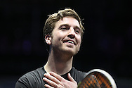 Mathieu Castagnet of France  celebrates after beating Omar Mosaad of Egypt  in the final.the Final, Omar Mosaad of Egypt v Mathieu Castagnet of France , Canary Wharf Squash Classic 2016 , at the East Wintergarden in Canary Wharf , London on Friday 11th March 2016.<br /> pic by John Patrick Fletcher, Andrew Orchard sports photography.
